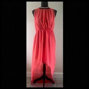 NWOT Coral high/low dress